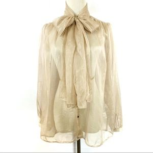 NY&CO Beige Sheer PussyBow Button Long Sleeve Top
